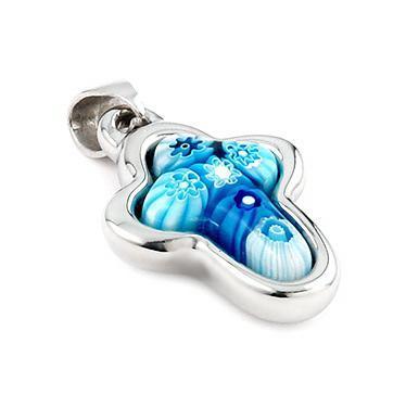 Pandantiv argint 925 cruce cu sticla Murano bleu 0