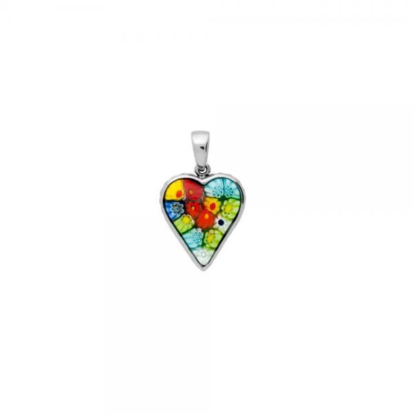 Pandantiv argint 925 cu sticla de Murano MILLEFIORI PSX0578 - Be In Love 1