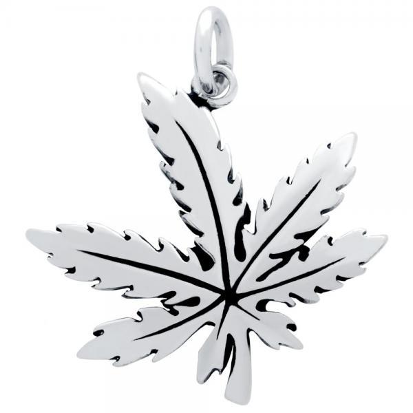 Pandantiv argint 925 frunza de marijuana 1