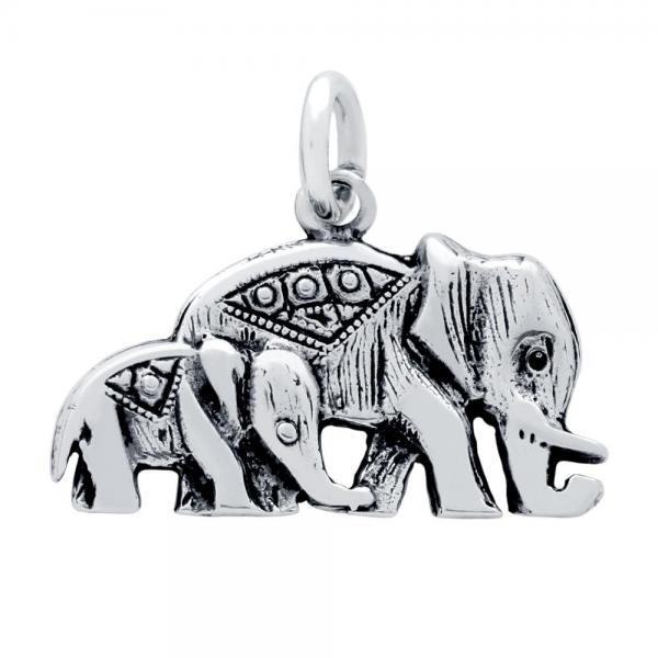 Pandantiv argint 925 in forma cu doi elefanti 0