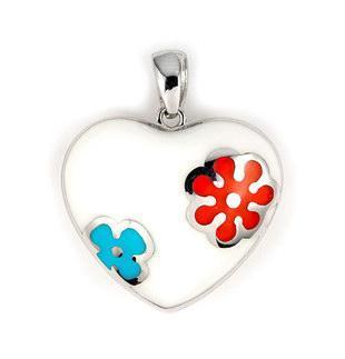 Pandantiv argint 925 in forma de inimioara alba cu floricele colorate 1