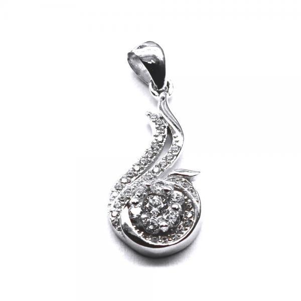 Pandantiv argint 925 rodiat floare cu zirconii 0