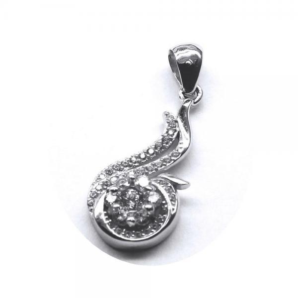 Pandantiv argint 925 rodiat floare cu zirconii 1