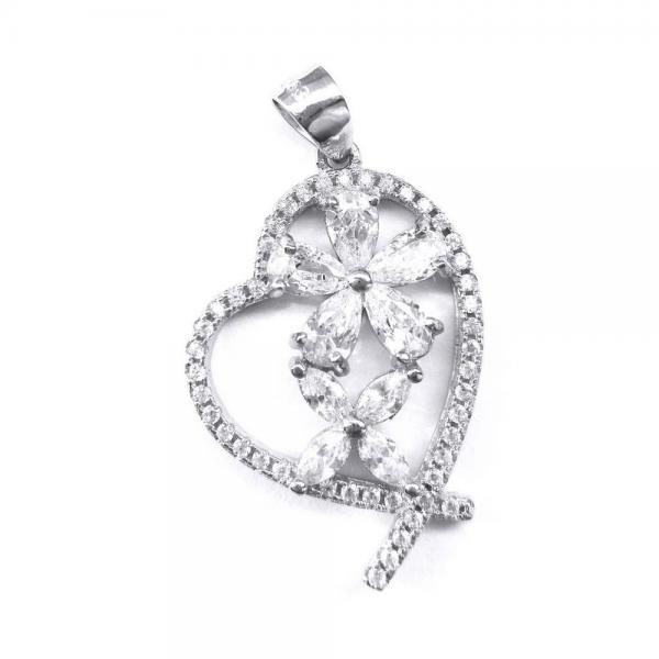 Pandantiv argint 925 rodiat inima cu floricele 0