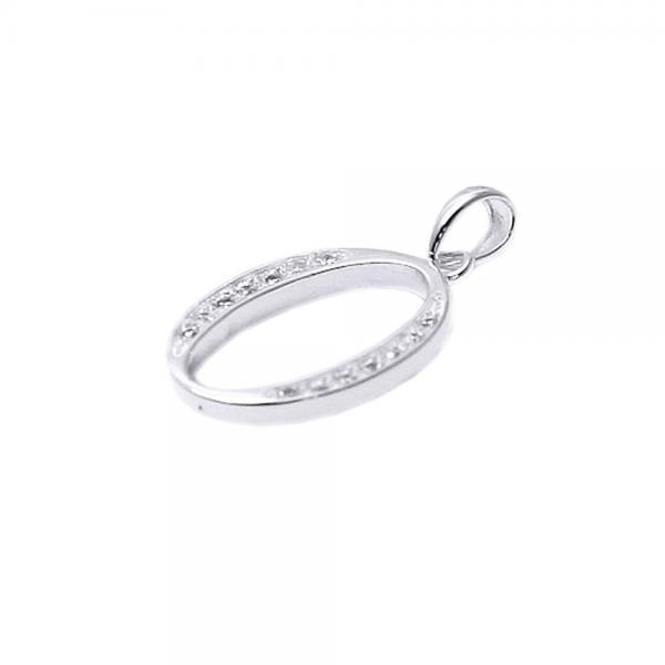 Pandantiv argint 925 rodiat litera O cu zirconii 0