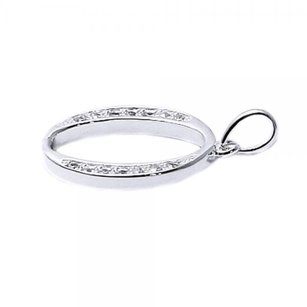 Pandantiv argint 925 rodiat litera O cu zirconii 1