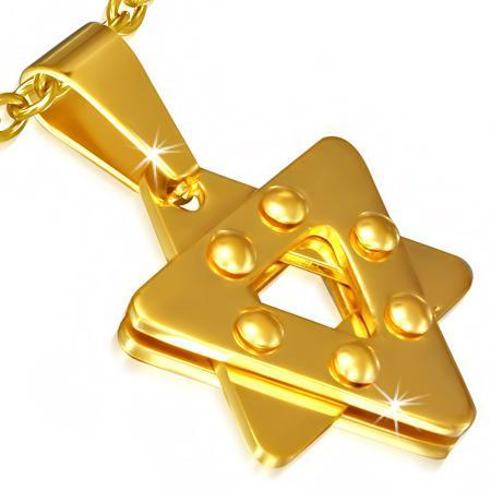 Pandantiv inox auriu cu Steaua lui David 0