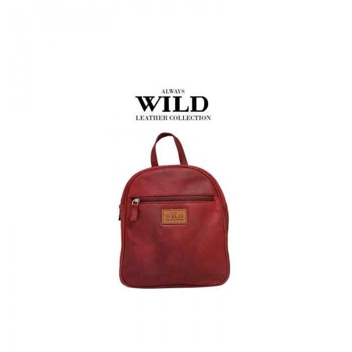 Rucsac piele naturala Wild RUC02 Rosu 0