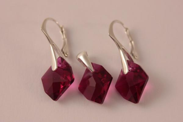 Set argint 925 cu swarovski elements 14 mm Ruby 0