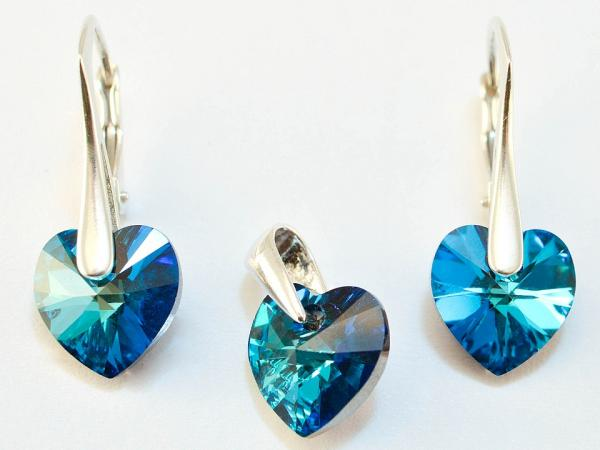Set argint 925 cu swarovski elements 10 mm culoare Bermuda Blue [0]