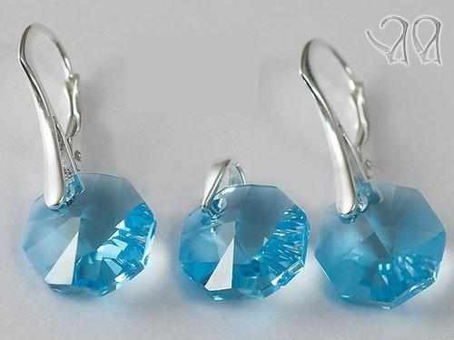 Set argint 925 cu swarovski elements 14 mm Aquamarine 0