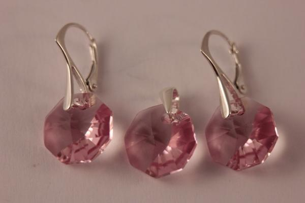 Set argint 925 cu swarovski elements 14 mm Lt. Rose 0