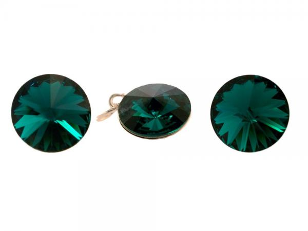 Set argint 925 cu swarovski elements 12 mm Emerald 0