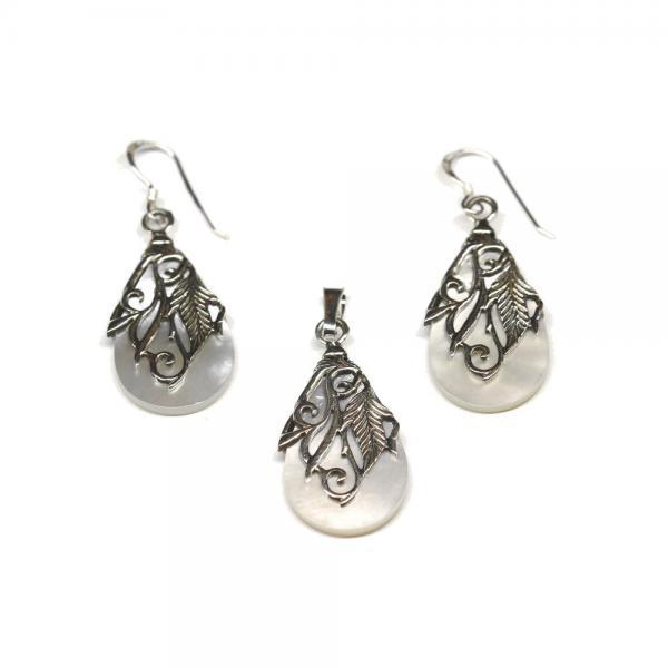 Set argint 925 elegant cu floricele 0