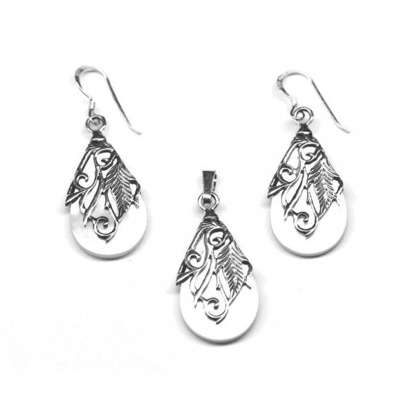 Set argint 925 elegant cu floricele 1