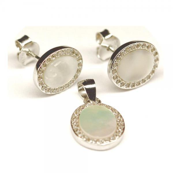 Set argint 925 elegant cu sidef si zirconii 0