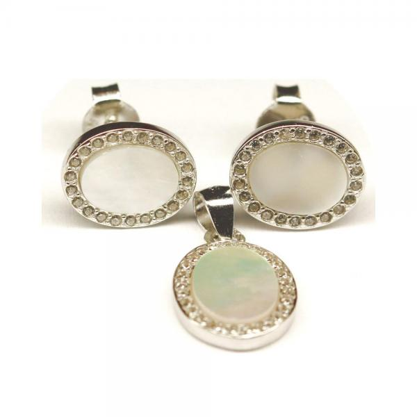 Set argint 925 elegant cu sidef si zirconii 1