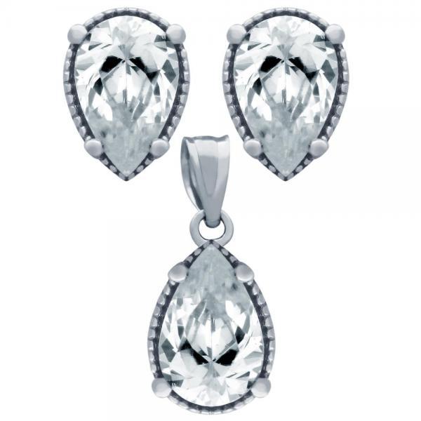 Set argint 925 elegant picaturi cu zirconii albe - Be Nature 0