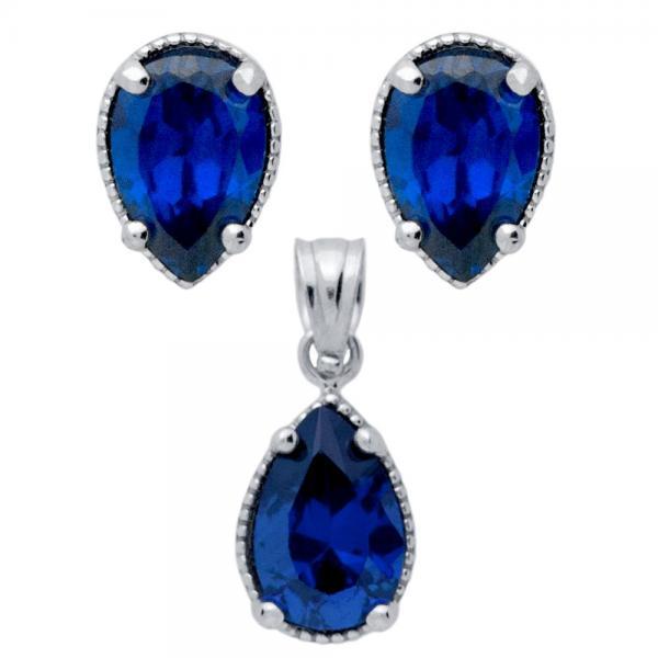 Set argint 925 elegant cu zirconii albastre 0