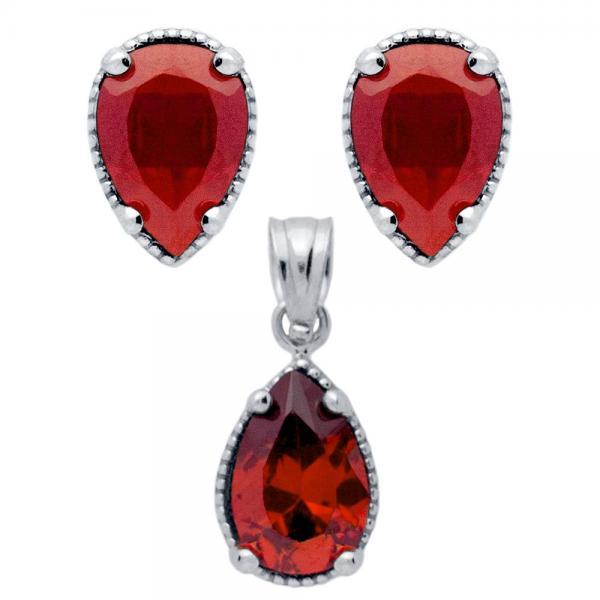 Set argint 925 elegant picaturi cu zirconii rosii - Be Nature 0