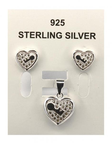 Set argint 925 rodiat cu inimioare si zirconii 0