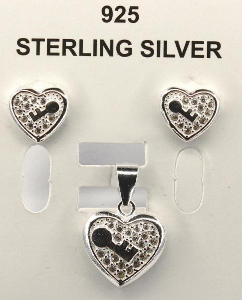 Set argint 925 rodiat cu inimioare si zirconii 1