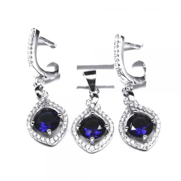 Set argint 925 rodiat cu zirconii albe si albastre 1