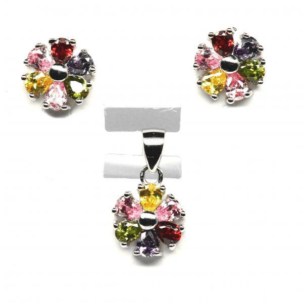 Set argint 925 rodiat cu zirconii colorate in forma de floare 0