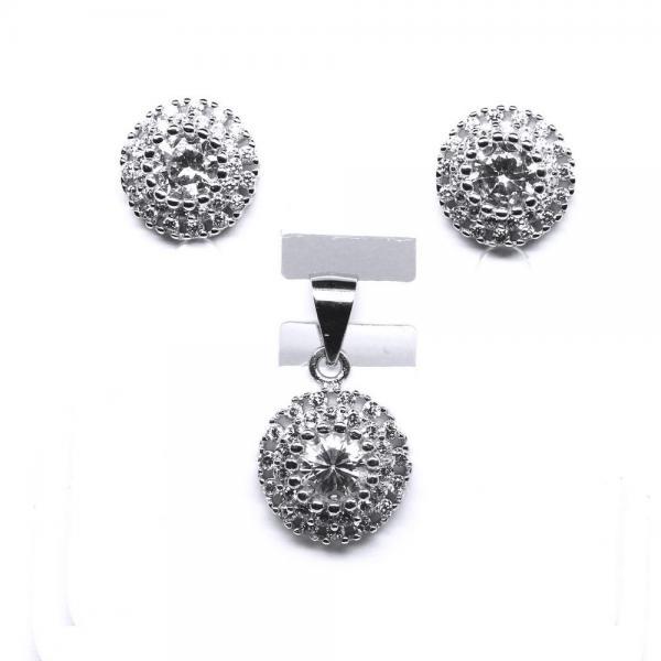 Set argint 925 rodiat cu zirconii model floare 0