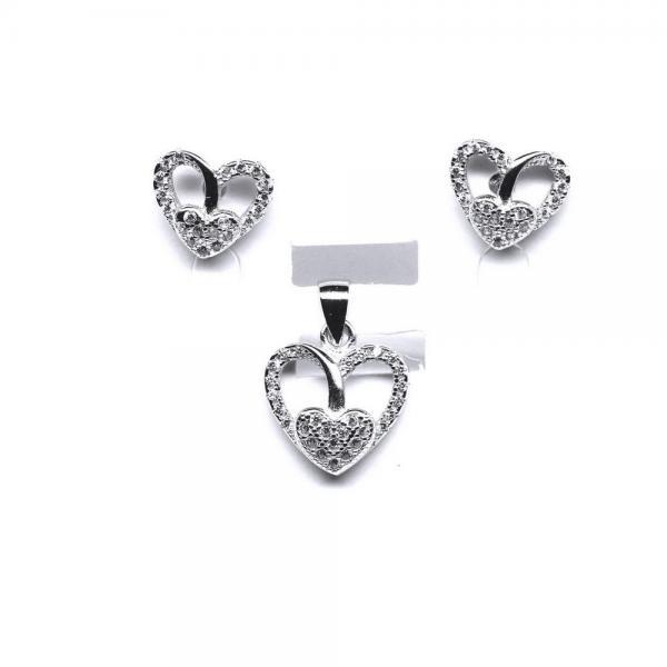 Set argint 925 rodiat cu zirconii model inimioara 0