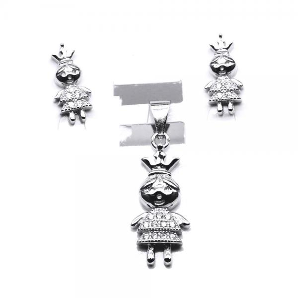 Set argint 925 rodiat fetite printese cu zirconii albe 0