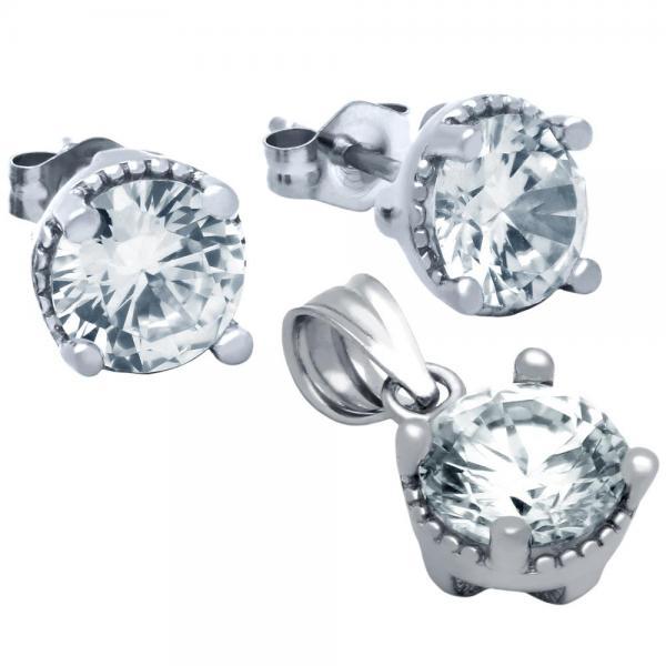 Set din argint 925 rodiat cu zirconii albe 1