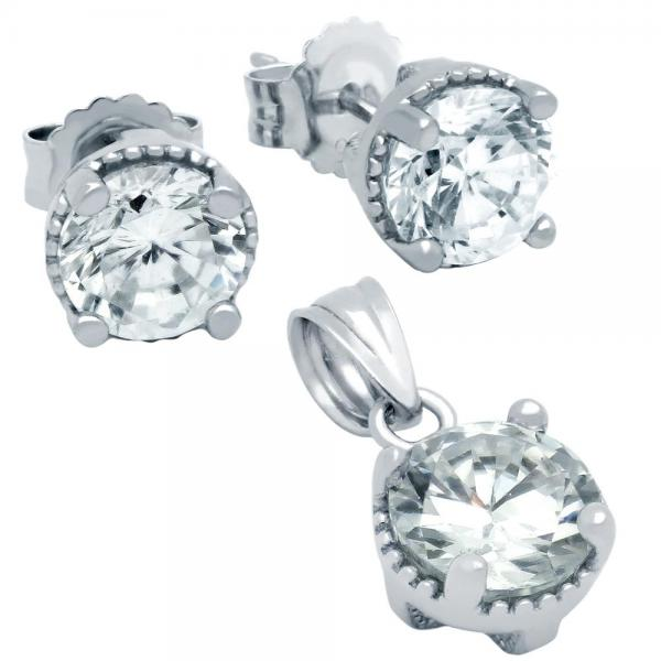 Set elegant din argint 925 cu zirconii albe 1