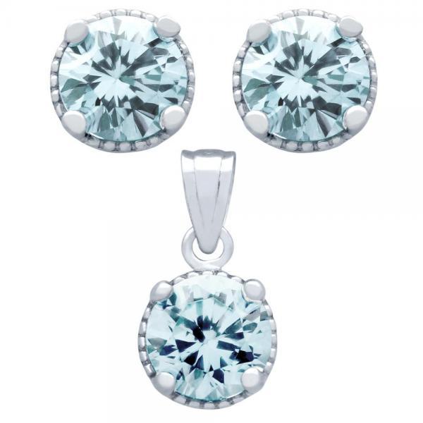 Set elegant din argint 925 cu zirconii bleu 0