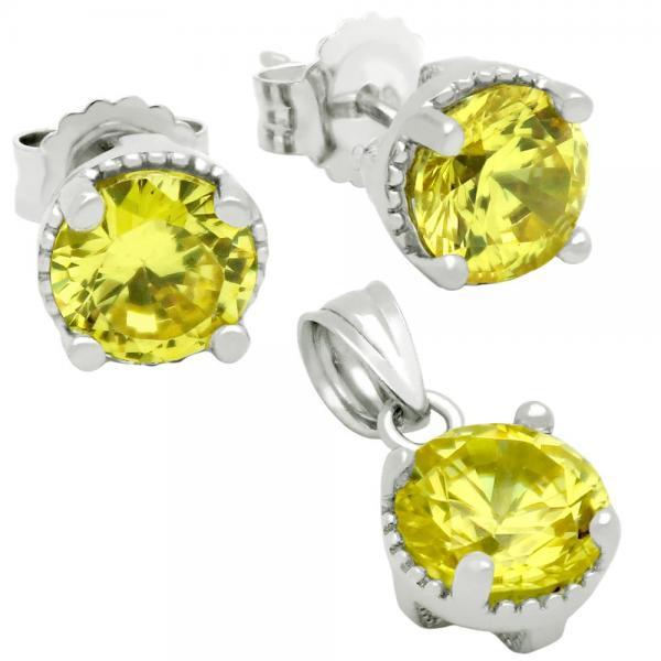 Set elegant din argint 925 cu zirconii galbene 0