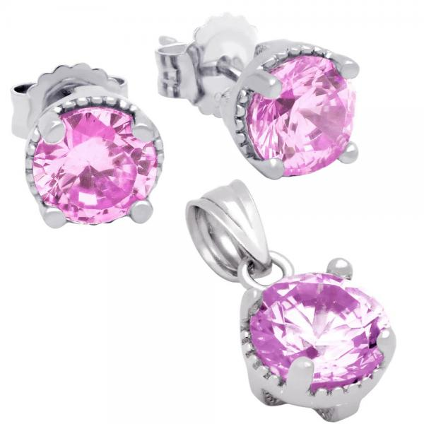 Set elegant din argint 925 cu zirconii roz 1