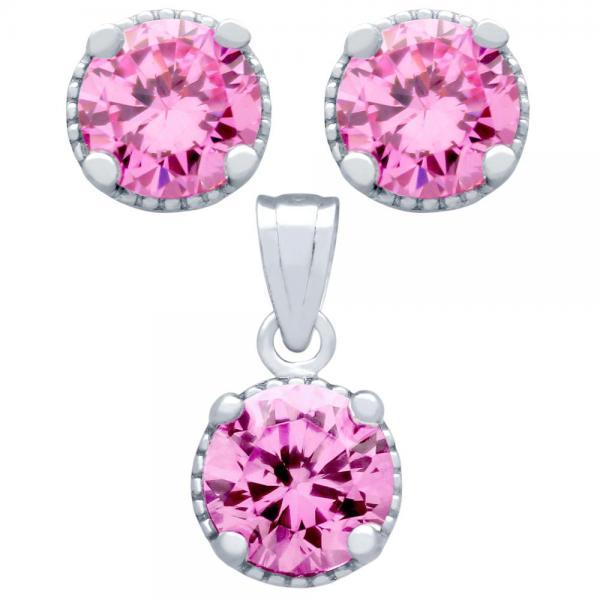 Set elegant din argint 925 cu zirconii roz 0
