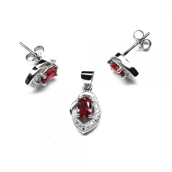 Set elegant din argint 925 rodiat Cercei si Pandant cu zirconii roz 0