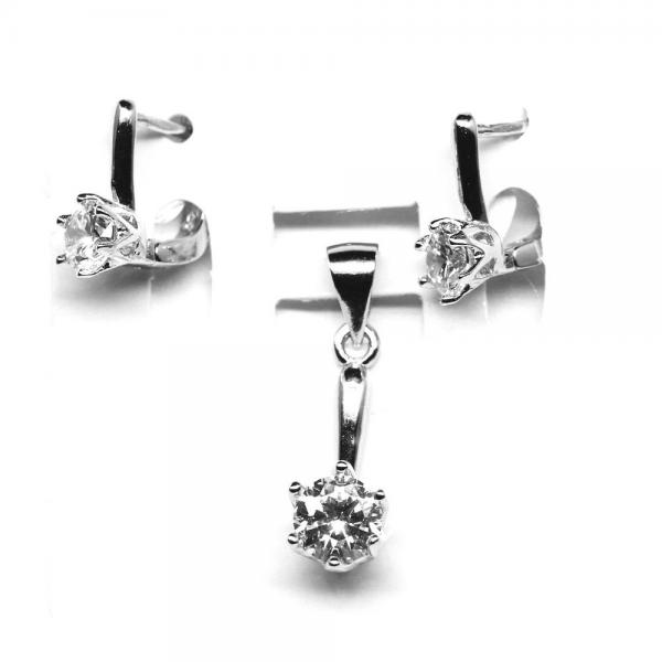 Set elegant din argint 925 rodiat cu zirconii albe 0