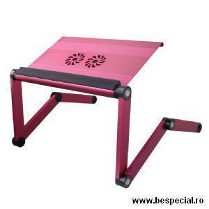 Suport roz pentru laptop din aluminiu cu ventilatoare 0