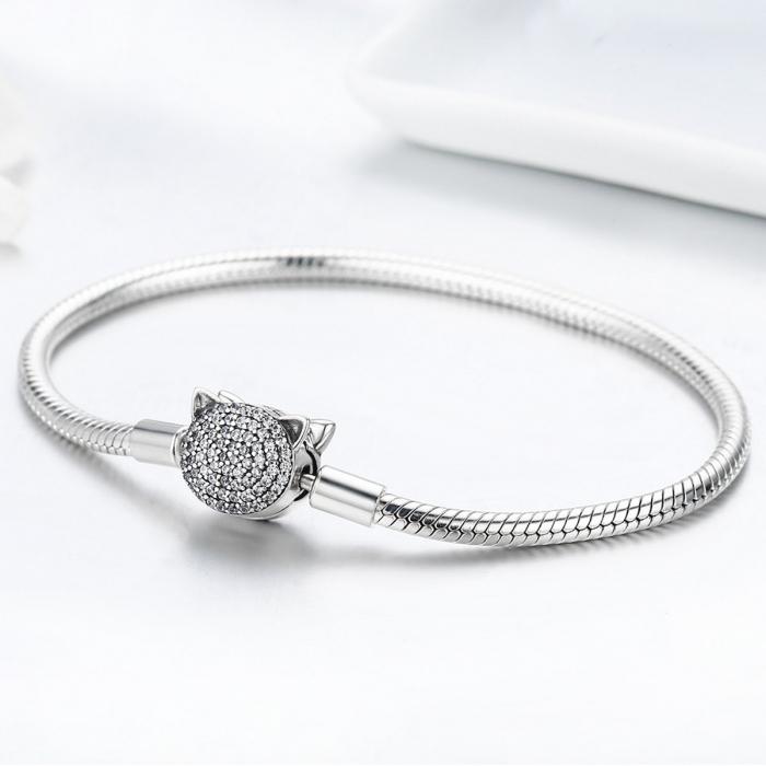 Bratara argint 925 cu cap de pisicuta si zirconii albe - Be Nature  BST0028 3