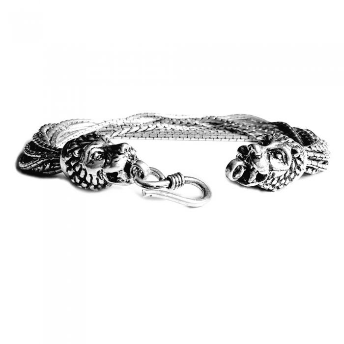 Bratara argint 925 cu capete de lei, Heracle 0