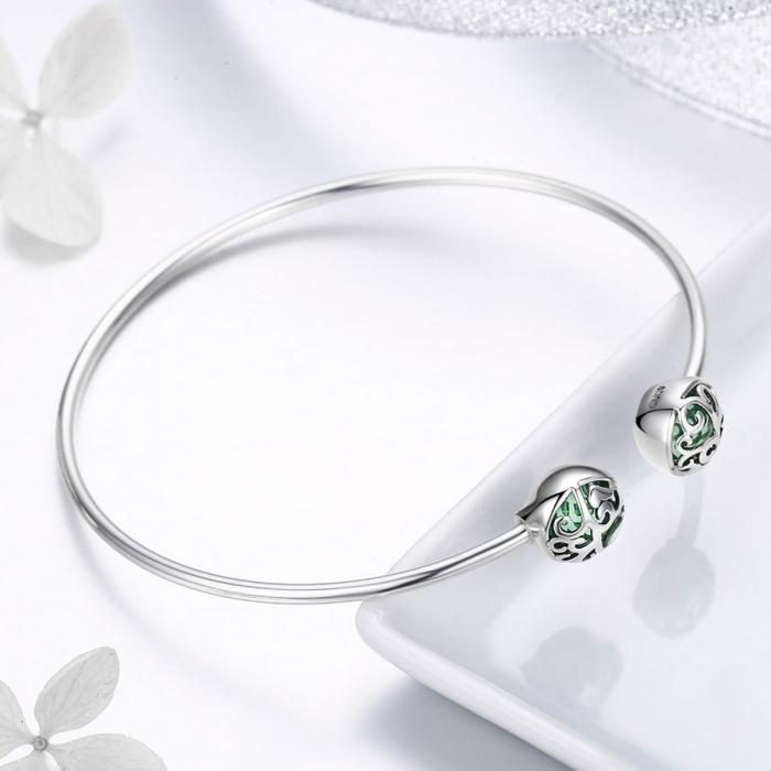Bratara argint 925 cu copacul vietii si cristale verzi - Be Nature  BST0030 3