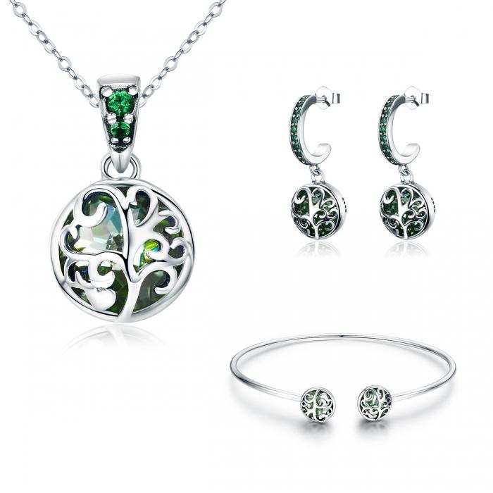 Bratara argint 925 cu copacul vietii si cristale verzi - Be Nature  BST0030 6