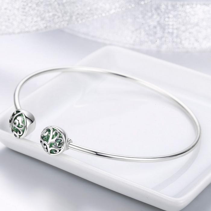 Bratara argint 925 cu copacul vietii si cristale verzi - Be Nature  BST0030 4