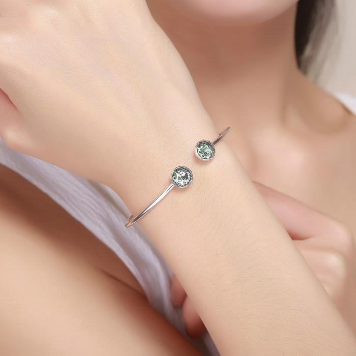 Bratara argint 925 cu copacul vietii si cristale verzi - Be Nature  BST0030 5