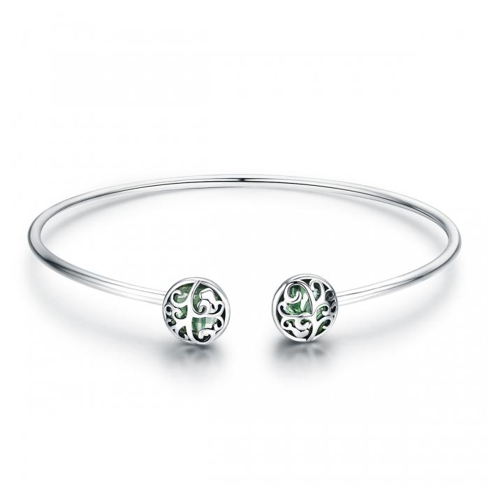 Bratara argint 925 cu copacul vietii si cristale verzi - Be Nature  BST0030 0