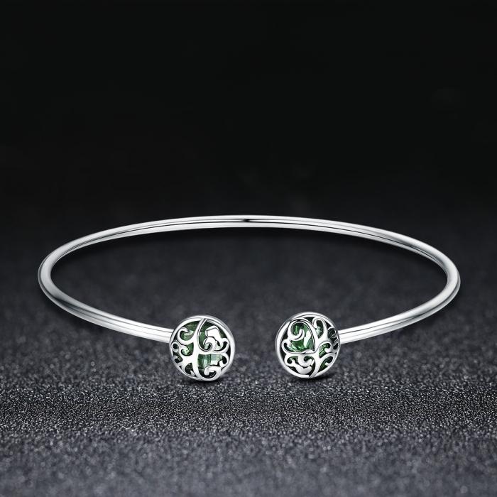 Bratara argint 925 cu copacul vietii si cristale verzi - Be Nature  BST0030 1