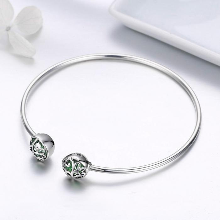 Bratara argint 925 cu copacul vietii si cristale verzi - Be Nature  BST0030 2