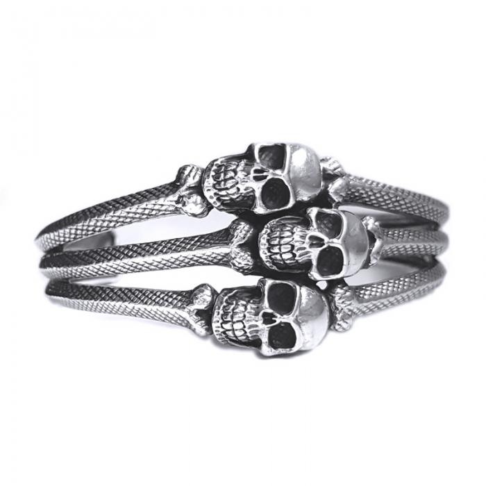 Bratara argint 925 cu cranii 0